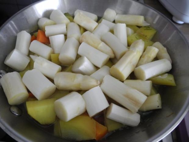 Vegan : Porree - Champignon - Pfanne mit Spargel und Kartoffeln - Rezept - Bild Nr. 8
