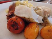 Schwertfisch u. Seeteufel mit NT gegart, dazu Kartoffelsalat und Cerrytomaten in Balsamico - Rezept