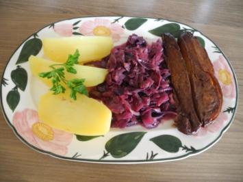 Vegan : Ostermenü Hauptgang : Vegane  Ente mit Kokos - Apfel - Rotkohl und Salzkartoffel - Rezept