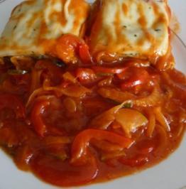 Vegan : Gemüsemaultaschen an Paprika - Letscho - Rezept