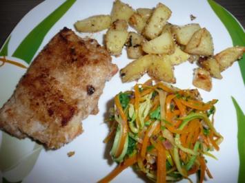 Hessische Apfel - Schnitzel an Gemüse - Spagetti und Sesamkartoffel - Ecken. - Rezept