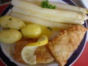 Spargel mit Seelachsfilet im Bierteig, Petersilienkartoffeln und Sauce Hollandaise - Rezept