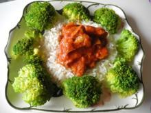 Vegan : Soja süss - sauer mit Karottenraspeln an Reis mit Broccoli - Rezept