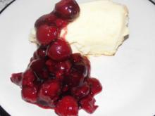 Käsekuchen Souffle`mit lauwarmem Kirschkompott - Rezept
