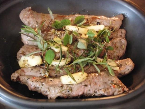 Lammlachse - Gemüsestreifen an Kartoffel Vinaigrette mit überbackenen Kartoffeln - Rezept - Bild Nr. 9