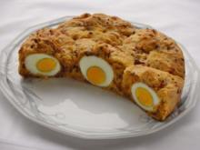 Herzhafter Hefekuchen versteckt ein paar Eier - Rezept