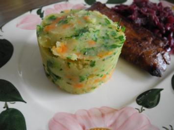 Vegan : Kartoffel - Karotten - Petersilien - Stampf als Beilage zum Ostermenü - Rezept
