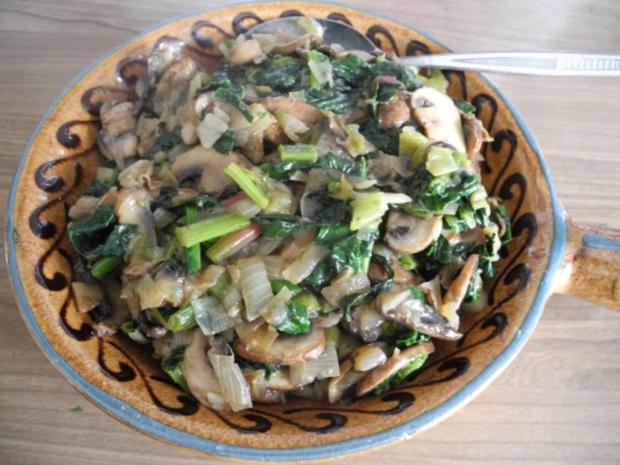 Beilage : Porree - Spinat - Champignons - Rezept