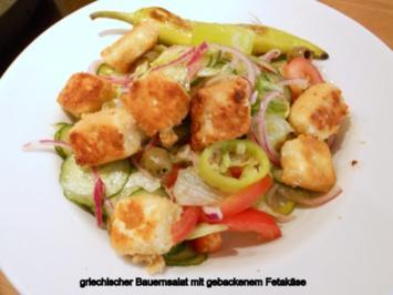 Rezept: griechischer Bauernsalat mit gebratenem Fetakäse