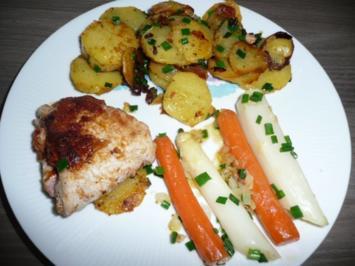 Cordon Bleu Natur an Bratkartoffeln und Mischgemüse. - Rezept