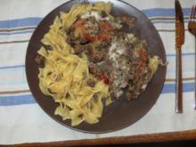 Tomaten-Mozza-Auberginen-Hackfleischpfanne - Rezept