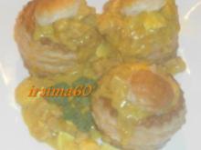 Blätterteig Pasteten mit Curry-Eier-Ragout - Rezept