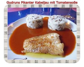 Fisch: Pikanter Kabeljau mit Tomatensoße im Asiastil und Wildreismischung - Rezept