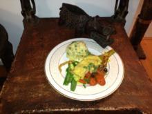 Krokodil auf Gemüsebett an Kartoffelrahm - Rezept