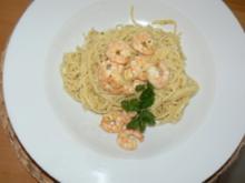Marinierte Knoblauchgarnelen mit Spaghetti - Rezept