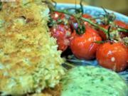 Panierte Rotbarschfilets mit Pastis-Sauce und Vanille-Tomaten - Rezept