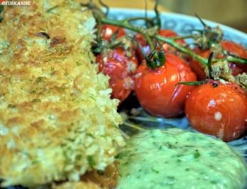 Rezept: Panierte Rotbarschfilets mit Pastis-Sauce und Vanille-Tomaten