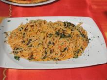 Vegan: Reisspaghetti mit Tomaten - Sahne - Soße - Rezept
