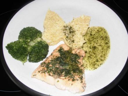 Lachs ohne Haut - Dampf gegart - mit kalter Vinaigrette, Curry - Mango - Reis u. Broccoli - Rezept