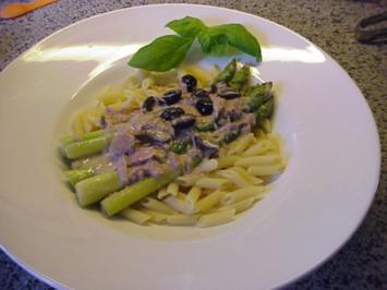 Pasta mit grünen Spargel und Thunfisch - Rezept