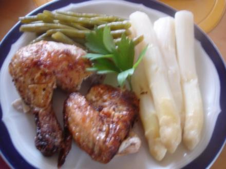 Brathähnchen mit Spargel und grüne Bohnen mit Knoblauch - Rezept