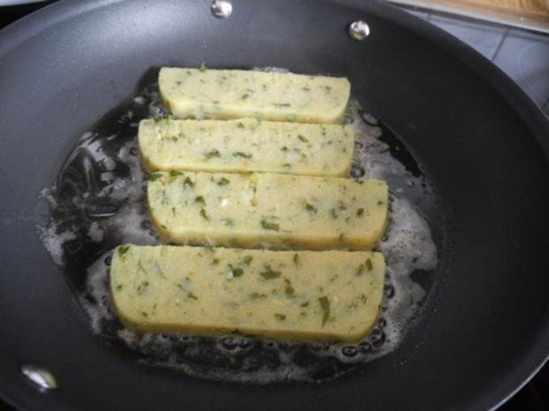 Vegan : Gebratene Petersilien - Polenta mit Dürrpflaumen - Zwiebel - Champignons - Rezept - Bild Nr. 14