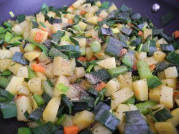 Vegan : Gewürfelte Gemüsepfanne - Rezept