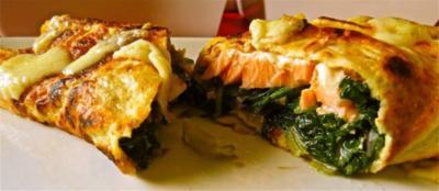 Pfannkuchen mit Lachs und Mangold - Rezept