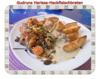 Hackfleisch: Harissa-Hackbraten mit Gorgonzolasoße und Berberekartoffeln - Rezept