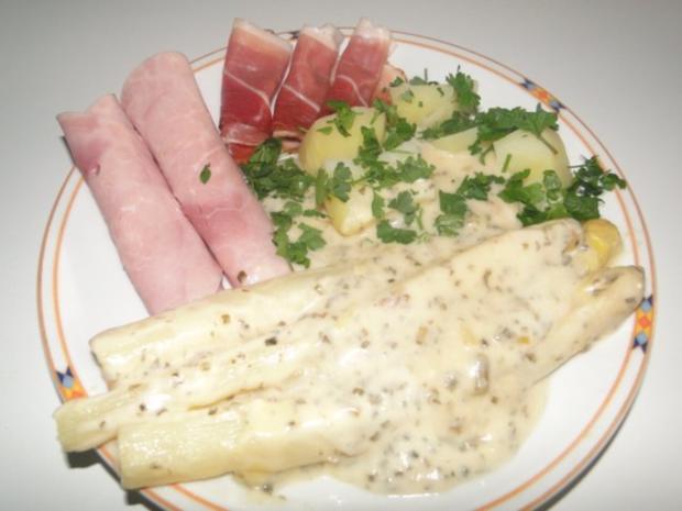 Spargel mit Käse-Sahne-Kräutersauce natürlich mit Schwarzwälder Schinken und - Rezept - Bild Nr. 9