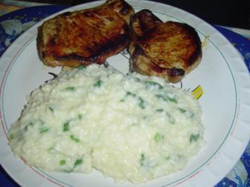 Kotelett mit Bärlauchrisotto - Rezept