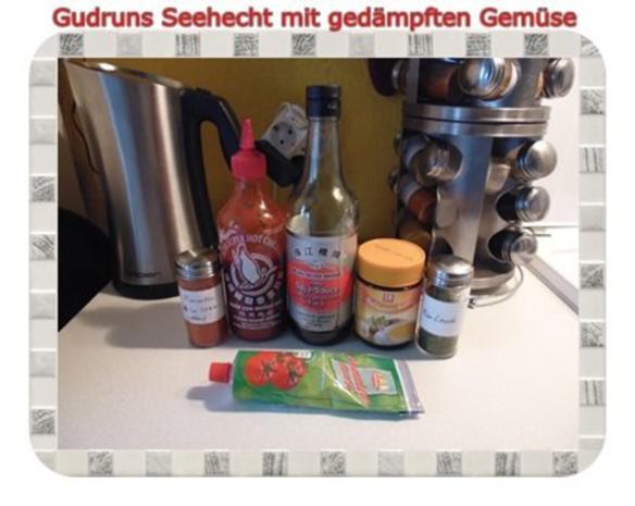 Fisch: Seehecht mit gedämpften Gemüse und Tomatensoße - Rezept - Bild Nr. 7