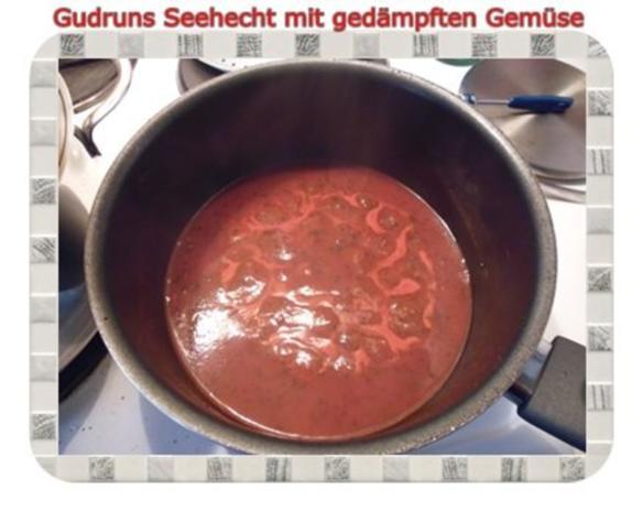Fisch: Seehecht mit gedämpften Gemüse und Tomatensoße - Rezept - Bild Nr. 9