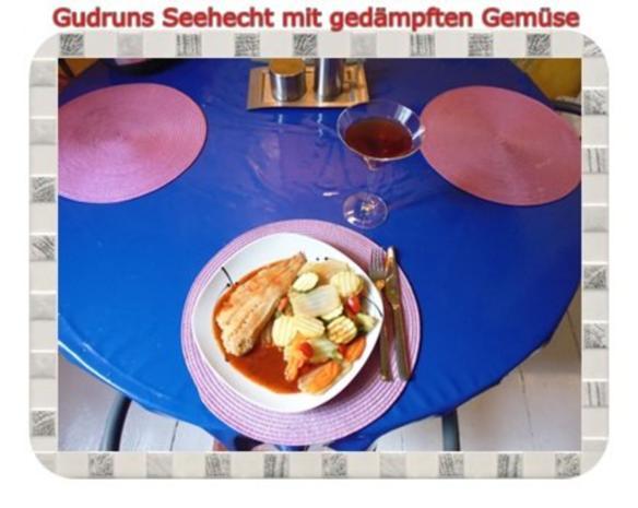 Fisch: Seehecht mit gedämpften Gemüse und Tomatensoße - Rezept - Bild Nr. 12
