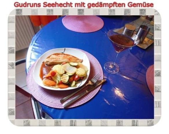 Fisch: Seehecht mit gedämpften Gemüse und Tomatensoße - Rezept - Bild Nr. 13