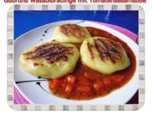 Kartoffeln: Wasabi-Bratlinge mit Tomaten-Sesamsoße - Rezept