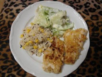 Zanderfilet mit Reis und grünem Salat mit Joghurt-Dressing - Rezept