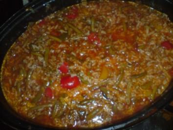 Scharfer Eintopf mit Reis und Hack - Rezept