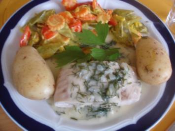 Wildlachsfilet mit Dillsauce, Frühkartoffeln und Gemüse - Rezept