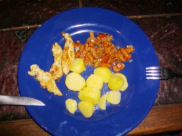Hähnchenstreifen mit Pfifferlingen und Kartoffeln - Rezept