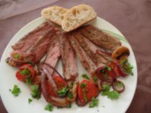 Rumpsteak mit Chamignons und Kirschtomaten - Rezept
