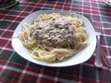 Spaghetti mit Thunfischsahnesoße mit Kapern - Rezept