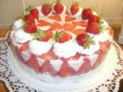 Erdbeer-Sahnequark Torte mit Schokoboden - Rezept