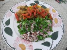 Vegan : Kraut - Paprika - Pfanne mit Rot - Weiss - Reis - Rezept