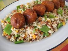 Vegan : Bunten Reisteller mit Tofu - Bällchen - Rezept