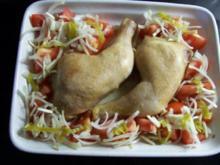 Hähnchenschenkel im Tomatennest - Rezept