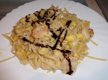 Pfannengericht: Mango-Garnelen-Rahmpfanne mit Pasta - Rezept
