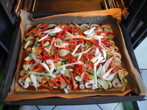 Vegan : Große Gemüse - Pizza - Rezept - Bild Nr. 11