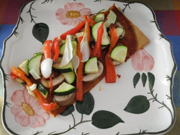 Vegan : Große Gemüse - Pizza - Rezept - Bild Nr. 2