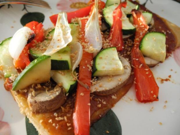 Vegan : Große Gemüse - Pizza - Rezept - Bild Nr. 3